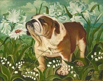 Bulldog in Flowers Museum Quality print by Yana Movchan