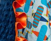 Baby Blanket, Minky Baby Blanket, Ready Set Go Planes, Personalized Blanket, Custom Made Blanket, Satin Trim Blanket, Satin Baby Blanket