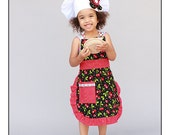 Children's Apron and Chef Hat Set Cherry
