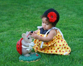 Girl's Dress Pillowcase Style Ladybug Fabric