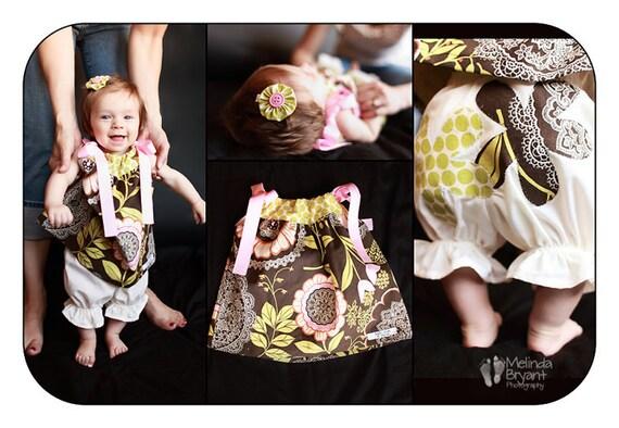 Pillowcase Dress Bloomers Hair Clip Set Amy Butler Lotus Lacework