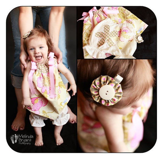 Baby Girl Pillowcase Dress Bloomer and Hair Clip Set Amy Butler Midwest Modern