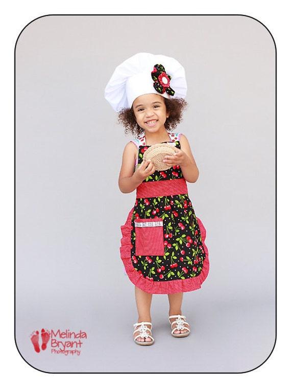 Children's Apron and Chef Hat Set Cherry
