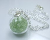 Glass Bubble Collection - Prehnite Glass Orb Silver Shake Pendant Filled