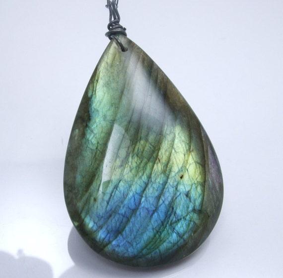 Mysterious Collection - Labradorite Teardrop Flash Pendant Blue Green Necklace Black