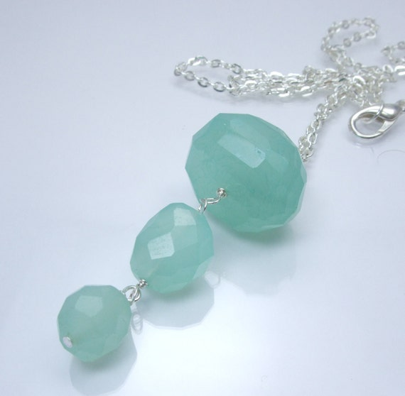 Palegic Collection - Aqua Chalcedony Nugget Faceted Large Small Triple Dangle Urchin Pendant Focal Necklace