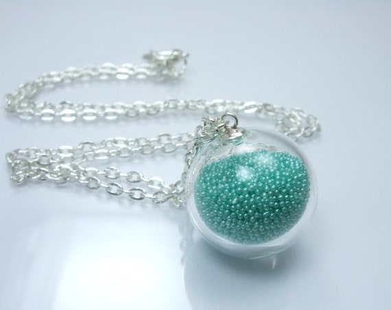 Bubble Collection - Apatite Glass Marbles Clear Sterling Silver Filled