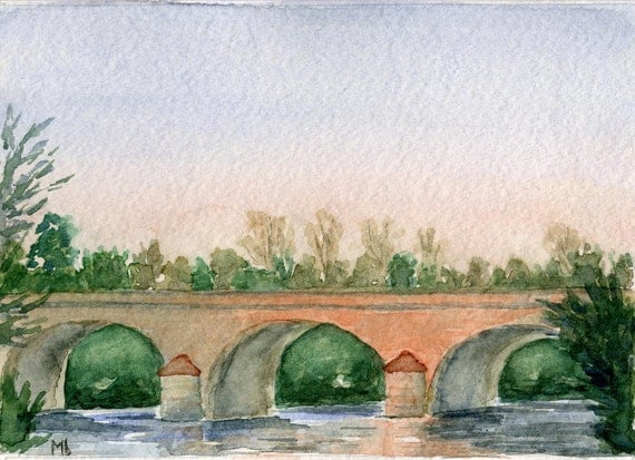 Bridge in Touraine, Original Watercolor Painting