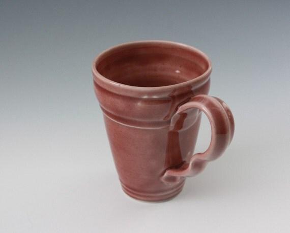 Wheel Thrown Porcelain Tapered Mug in Raspberry Red