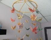 Origami Circular Coil 36 Paper Crane Mobile - Chiyogami Paper