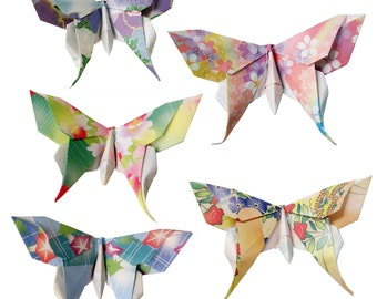 10 Large or 20 Small Swallowtail 3D Origami Butterflies (Floral Print)  - Great for Name or Placement Cards