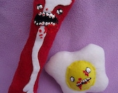 Zombie Bacon and Eggs Plush Set MADE TO ORDER