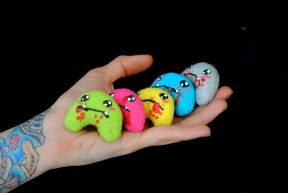 Tiny Zombie Plush - Small Stuffed Cute Undead Stuffed Toy Kawaii Pocket Softie (You Pick the Color)