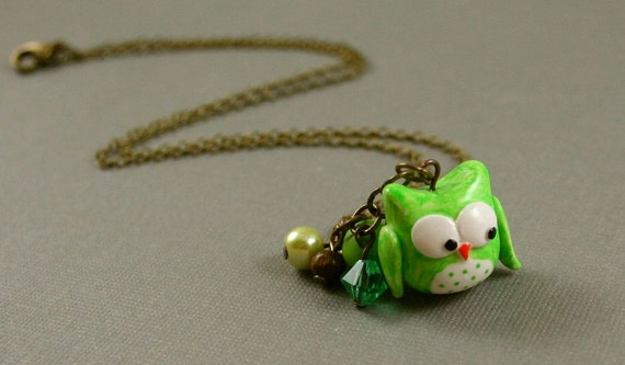 Little Green Owl Necklace - Hand Sculpted Polymer Clay - Antiqued Brass