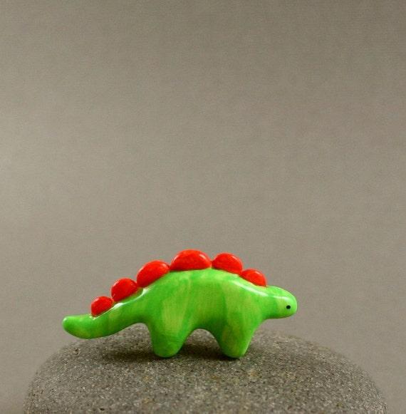 Tiny Dino - Apple Green Stegosaurus - Hand Sculpted Miniature Polymer Clay Animal