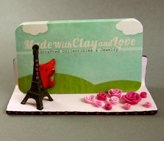 Reserved For Jeanette - Hand Sculpted Business Card Holder - Paris Theme
