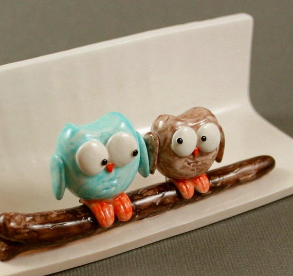 Hand Sculpted Business Card Holder - Little Owls In Blue And Mocha - Miniature Polymer Clay Animal