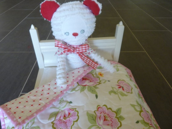 Pink Flowers Doll Quilt for American Girl or a  nice Lovey Reversible