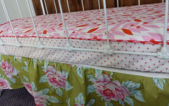 Custom for Pamela Clearance Bumperless  Crib Sheet with piping Nicey Jane by Heather Bailey Fabrics