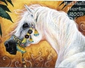 ACEO Limited Edition PRINT Hand Embellished White Arabian Horse Animal Equine ART