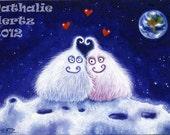 Original Miniature Painting ACEO UFO Alien Moon space Love Hearts Lowbrow Folk Fantasy ART