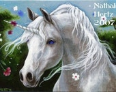 ACEO Limited Edition PRINT Unicorn Horse Flower Fantasy ART