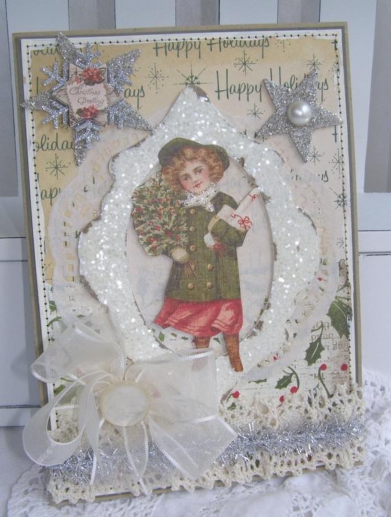 SALE REDUCED PRICE Victorian Girl Christmas Handmade Card