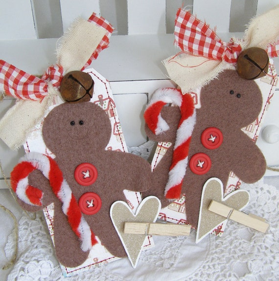 Gingerbread Men Country Themed Handmade Christmas Gift Tag