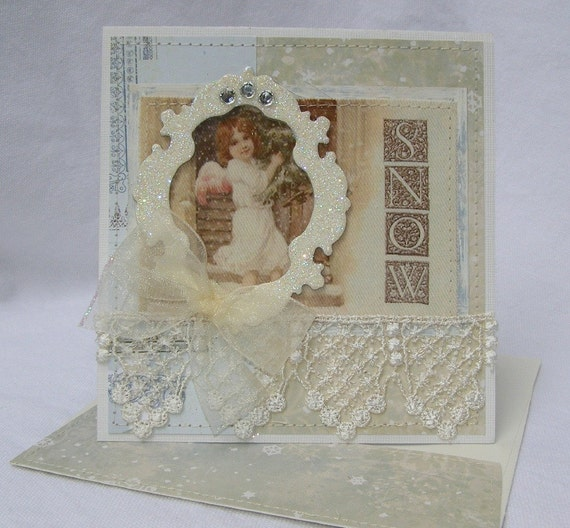Snow Angel Christmas Handmade Card By PaperBistro On Etsy