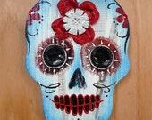 Sugar Skull wall art 'Touch of Blue'