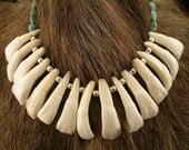 Native American Buffalo Tooth Turquoise and Sterling Necklace