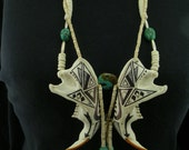 RESERVED FOR KATHLEEN  Native American Style Butterfly Bone and Turquoise Beaver Jaw Necklace