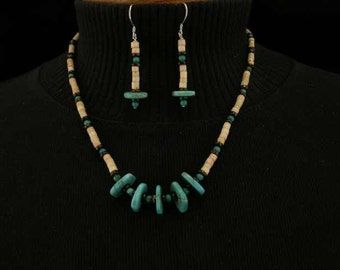 Bone, Garnet and Turquoise Native American Style Necklace