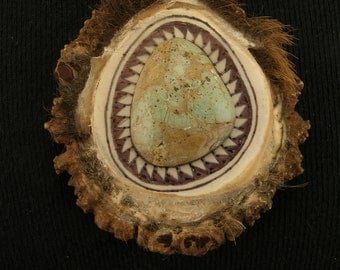 XL Large Elk Antler Button with Turquoise Cabochon Pendant