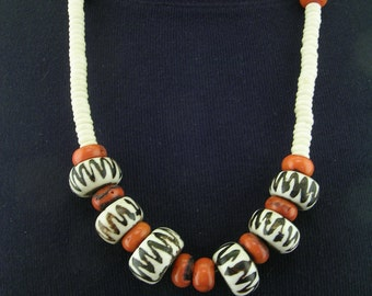 African Style Coral Bone and Trade Bead Necklace