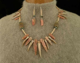 Pink Peruvian Opal, Mother of Pearl, Turquoise and Bone Necklace and Earrings