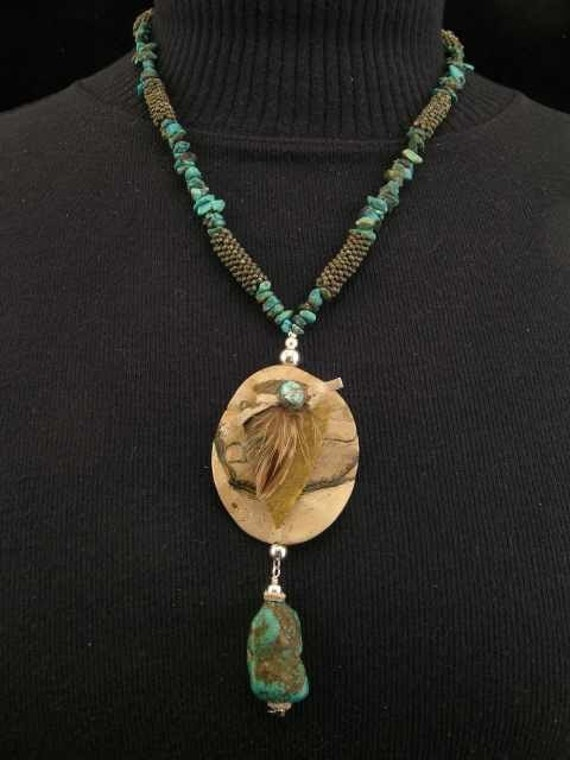 SALE  Turquoise, Picture Jasper and Agate Native American Style Necklace  20% Off