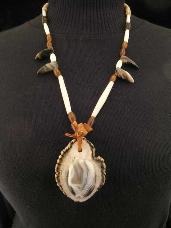 Native American Large Elk Antler Button and Botswana Agate Necklace