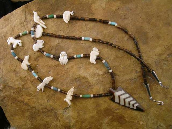 Native American Style Turquoise with Bone Fetishes and Horn Arrowhead