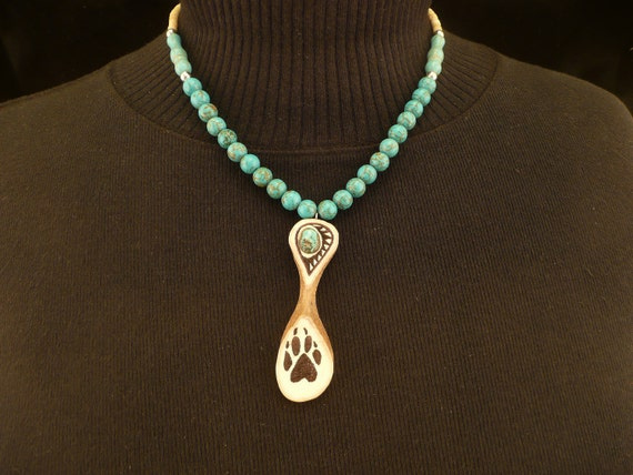 RESERVED  Native American Style Magnesite Bone Deer Antler and Turquoise Necklace