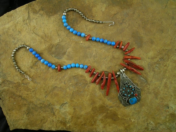 Old Pawn Branch Coral Turquoise and Sterling Silver Necklace
