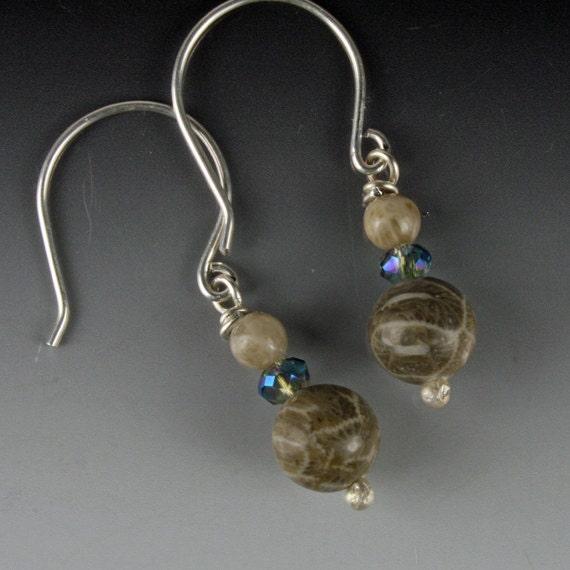 Crystal Earrings, Stone Earrings, Petoskey Stone Earrings, Petoskey Stone Jewelry