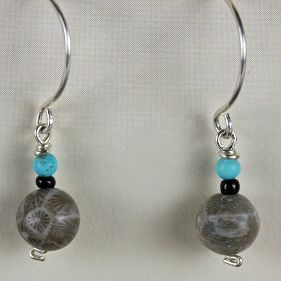 Petoskey Stone Earrings, Turquoise Earrings, Natural Stone Jewelry