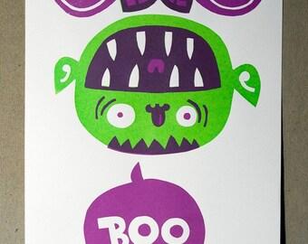 Boo - vampire halloween screen print