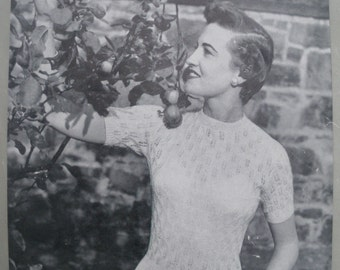 Vintage 1950s 1960s Knitting Pattern Womens Lacy Sweater Jumper 50s 60s original pattern