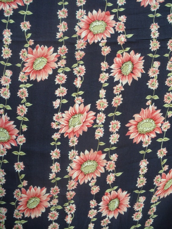 Vintage Fabric 1950s Floral - Pink Flowers on Navy Blue Background -  over 5 yards - dress yardage - dress length 50s floral fabric