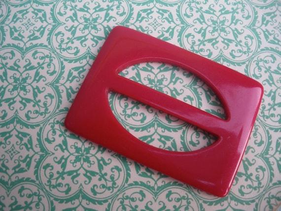 Vintage Buckle 1930s 1940s Cherry Red Plastic - Vintage Bakelite Belt Buckle - red bakelite