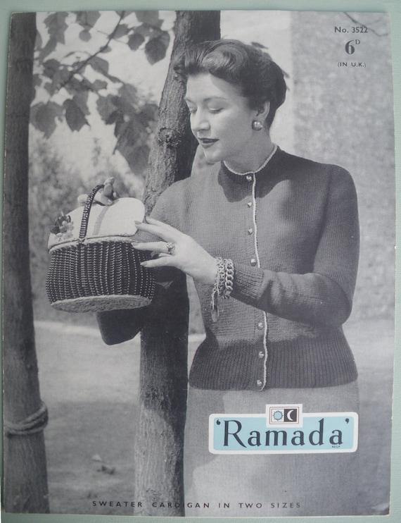 Vintage Knitting Pattern 1950s Womens Cardigan - 50s knitting pattern