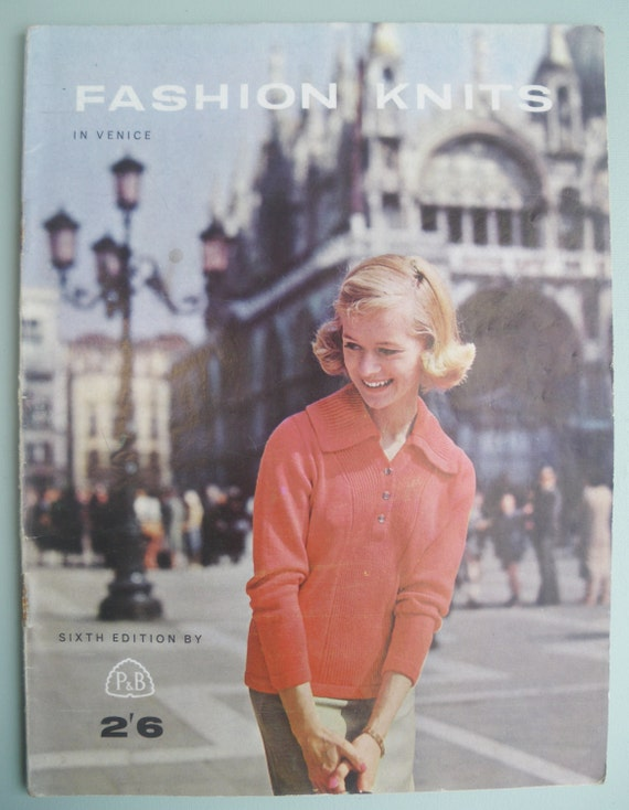 Vintage 1960s Knitting Book - Fashion Knits in Venice by P & B - Patons and Baldwins