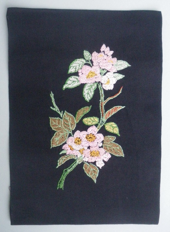 Vintage Fabric Floral Hand Embroidery - embroidered linen fabric panel - Pink Flowers on Black - ideal for framing or for sewing project